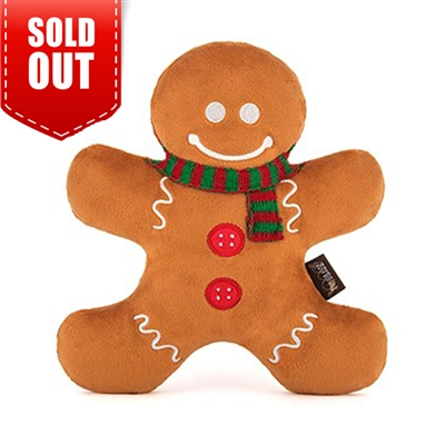 P.L.A.Y. Holiday Classic Toy Collection-Holly Jolly Gingerbread Man Dog Toy