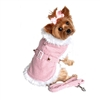 Beverly Hills Pink Houndstooth and White Fur Harness Coat