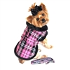 Pink Plaid Classic Dog Coat Harness with Matching Leash