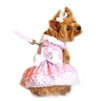 Pink Polka Dot and Lace Dog Harness Dress Set