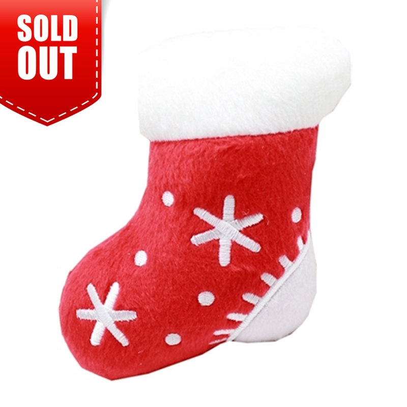 plush christmas dog toy red stocking