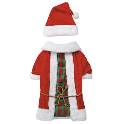 Radiant Tartan Vintage Santa Dog Set