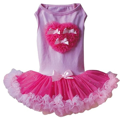 Ruffle Heart Petti Dog Dress