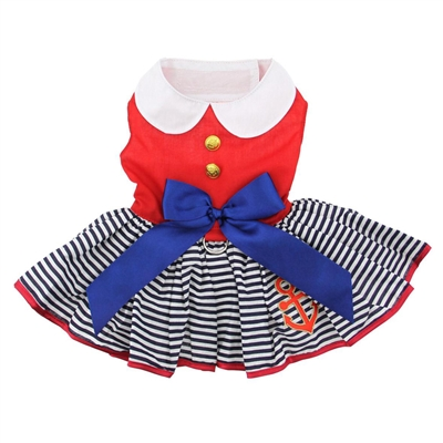 Sailor Girl Dog Dress with Matching Leash