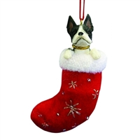 Santa's Little Pals Boston Terrier Ornament