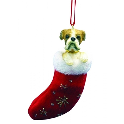 Santa's Little Pals Boxer Ornament