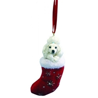 Santa's Little Pals Poodle White Ornament