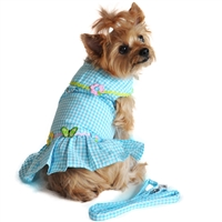 Turquoise Gingham Flower Harness Dress Set