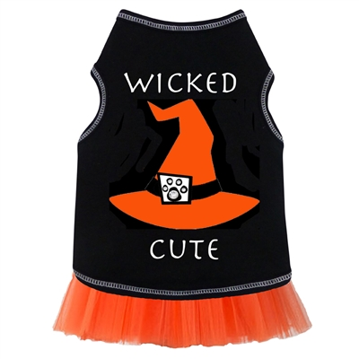 Wicked Cute Hat Dog Dress With Tulle-Black