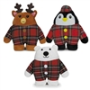 Zanies Holiday Tartan Friends Dog Toy