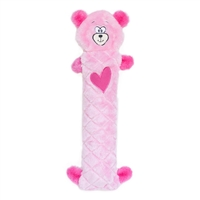 Zippy Paws Valentines Jigglerz Dog Toy- Pink Bear