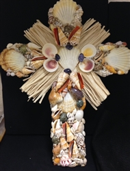 Crucifix Made with Pecten Radula and Raffia
