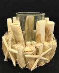 Wood & Starfish Candle Holder w/ Glass