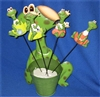 Frog on Garden Stake with Frog Display Pot Set/24