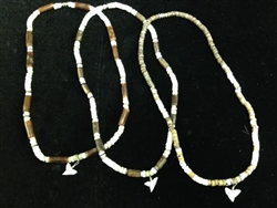 Coco Bead Necklace W/ Shark Tooth 18 inch