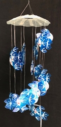 Spiral Blue Fish Capiz Chime