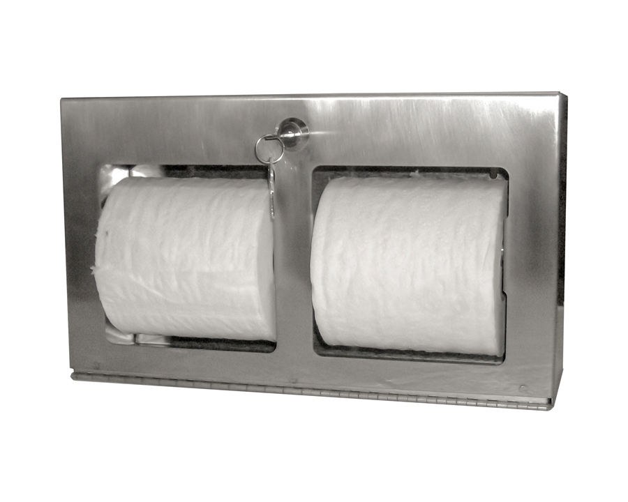 Toilet Paper Holder : Locking double roll toilet tissue dispenser horizontal surface mount