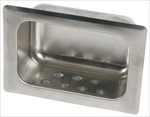 Heavy Duty Recessed Soap Dish without Lip - Wet Wall Mortar Mount, satin
