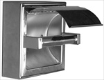 Toilet Paper Holder- hinged hood, surface mount, satin