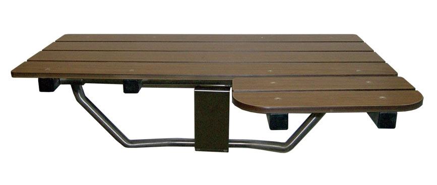 L-Shaped Reversible Shower Seat - Wood-grain phenolic top