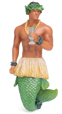 December Diamonds Blue Hawaii Merman with Drink Christmas Ornament
