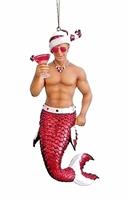 December Diamonds Candy Cane Merman with Drink Christmas Ornament