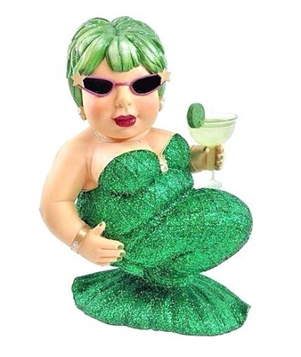 December Diamonds Margarita Green Drinking Mermaid Large Figurine Sculpture 14""