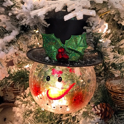 GERSON 8''H ELECTRIC LIGHTED CRACKLE GLASS SNOWMAN