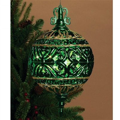 GERSON 6 Inch Lighted Filigree Ball Christmas Ornament Indoor Outdoor Decor - Prelit (Green)
