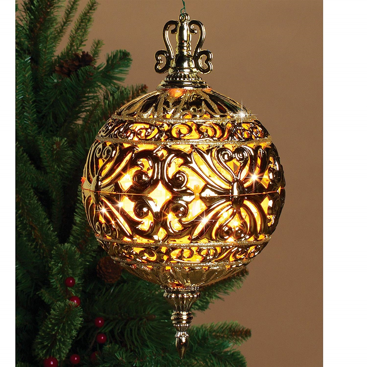 GERSON 6 Inch Lighted Filigree Ball Christmas Ornament Indoor Outdoor Decor  , Prelit (GOLD)