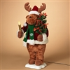 "GERSON 24"" Electric Holiday Moose Holding Candle and Christmas Tree"
