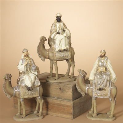 "GERSON 13.9"" Resin Silver & Gold Wiseman Riding Camel, 3 Assorted"