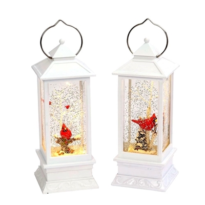 Gerson 10.8'' White Water Lanterns W/ Winter Scene & Cardinal (Set of 2)