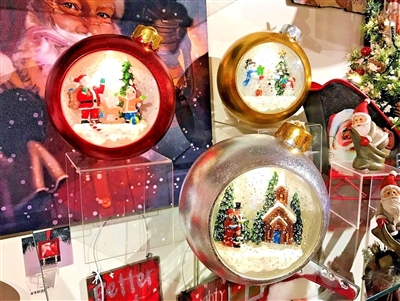 "Gerson 6.75""H B/O Lighted Musical Spinning Globe Ornaments W/ Holiday Scenes (Set of 3)  OUT OF STOCK"