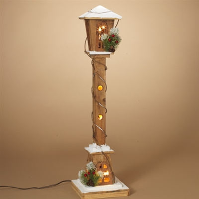 "GERSON 31""L Electric Lighted Wood Lamp Post"