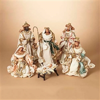 "GERSON 10.8"" Pastel Multicolored Nativity Set of 6 Figures"