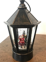 "GERSON 8.75""H B/O Lighted Musical Holiday Spinning Water Globe Santa Lantern w/ Timer"