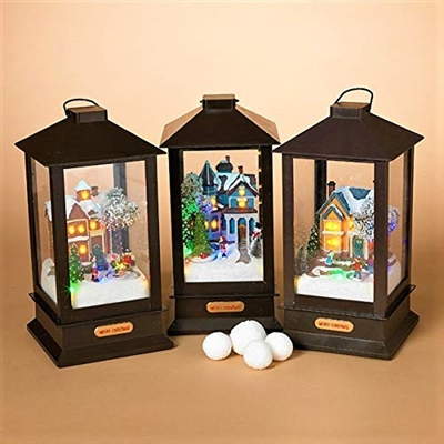 "GERSON 15"" B/O OPERATED LIGHTED MUSICAL HOUSE SCENES (SET OF 3)"