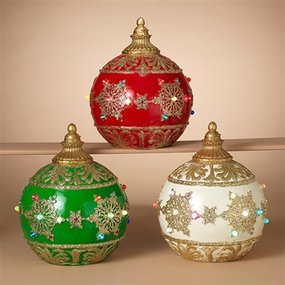 GERSON 14''H B/O JUMBO ORNAMENTS (SET 0F 3)