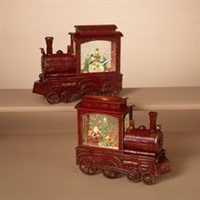 GERSON 9.25''H B/O LIGHTED MUSICAL SPINNING WATER GLOBE TRAINS WITH HOLIDAY SCENE & TIMER (SET OF 2)