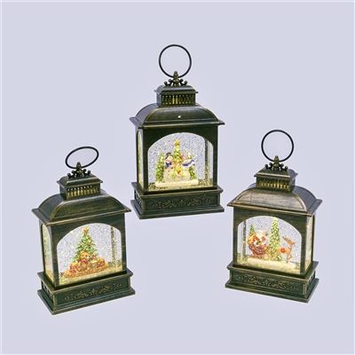 GERSON 8.25''H B/O LIGHTED  SPINNING WATER GLOBE LANTERNS WITH HOLIDAY SCENE & TIMER (SET OF 3)