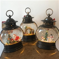 GERSON 11''H B/O LIGHTED SPINNING WATER GLOBE LANTERNS WITH HOLIDAY SCENE & TIMER (SET OF 3)