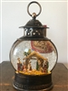 GERSON 11''H B/O LIGHTED SPINNING WATER GLOBE NATIVITY LANTERN WITH HOLIDAY SCENE & TIMER