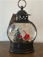 GERSON 11''H B/O LIGHTED SPINNING WATER GLOBE SANTA LANTERN WITH HOLIDAY SCENE & TIMER