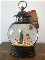 GERSON 11''H B/O LIGHTED SPINNING WATER GLOBE SNOWMAN LANTERN WITH HOLIDAY SCENE & TIMER