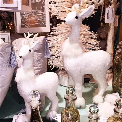"GERSON 13"" Foam Holiday White Deer w/ Antlers (SMALLER ON PHOTO)"