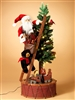 GERSON 37''H ELECTRIC LID CHRISTMAS TREE W/MOVING TRAIN & SANTA ON LADDER