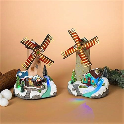 "GERSON 13"" LIGHTED MUSICAL HOLIDAY MOVING WINDMILL (SET 0F 2)"