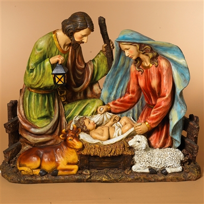 GERSON 37.8''L SOLAR LIGHTED MAGNESIUM HOLY FAMILY FIGURINE WITH A COW & SHEEP (OUT OF STOCK NOT AVAILABLE)