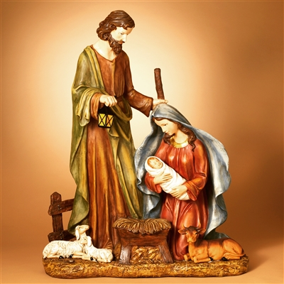 GERSON 18''H B/O LIGHTED RESIN NATIVITY FIGURINE